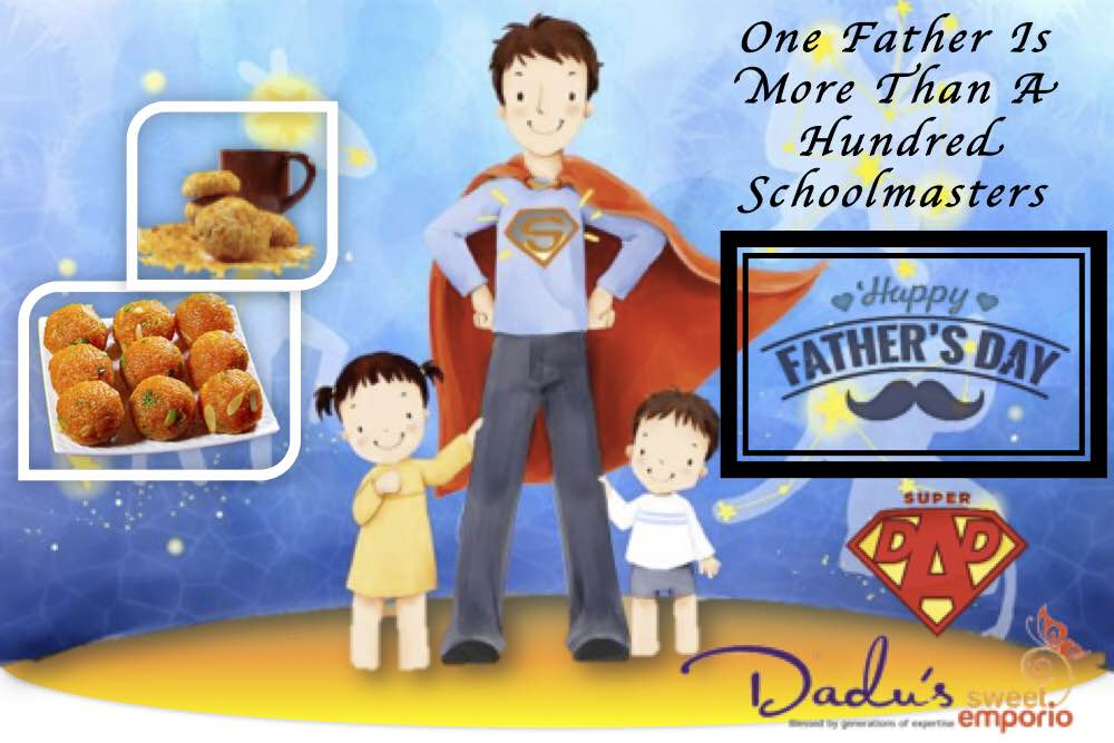 One Father Is More Than A Hundred Schoolmasters! Treat your Dad With His Favorite Mithai Today @ Dadus Sweet Emporio, Pune #fathersday #dadussweetemporio #dadussweetemporio #cravings #celebratinglife #foodporn #dadus #punefood #puneeatouts #punebhookad #punefoodie (One Of The Best Sweet Shops In Pune)