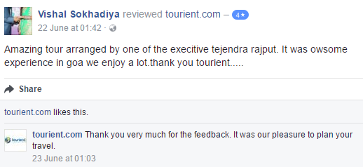 Tourient Reviews - Happy Customer with good feedback!  Amazing tour arranged by one of the executive tejendra rajput. It was awesome experience in Goa we enjoy a lot. thank you tourient.....