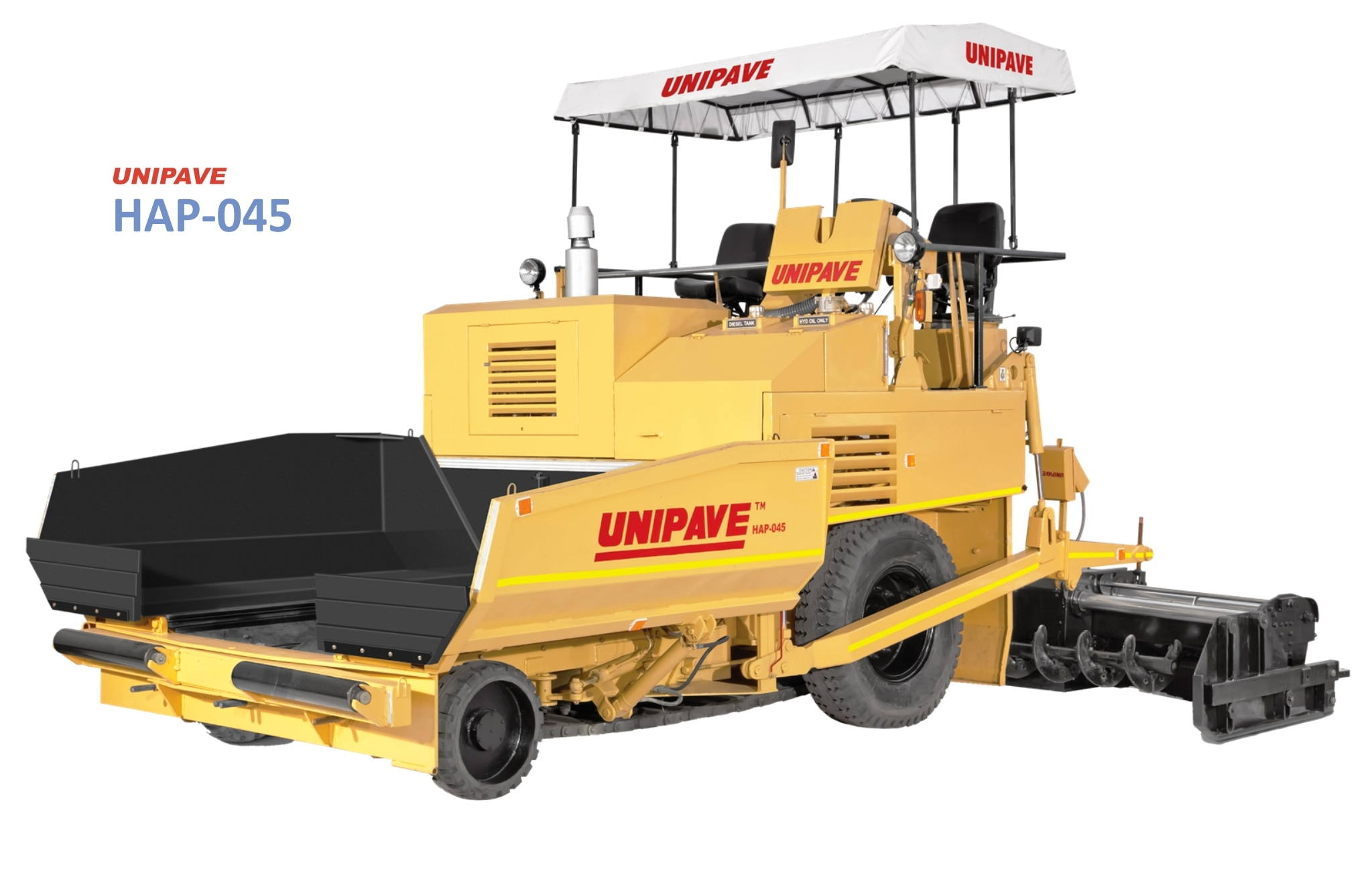 Unipave Mechanical Paver with Hydraulic Drive & Conveyor System working at Amreli, Gujarat.  HAP-045 with Hydraulic Drive & Conveyor Drive is a mechanical paver finisher developed to provide better performance at low maintenance cost. It offers ease of operating and maintaining it. Smaller, stronger, and economical mechanical paver finisher model HAP-045's this another variant comes with hydro-static transmission, hydraulic drive for conveyor, sliding type control panel, dual operator seats, 2 nos. rear wheels, hydraulically extendable screed with vibration and heating facility. Hydraulic Conveyor system increases output and reduces maintenance. Auto Limit Control Switch helps to control material flow automatically. HAP-045 has basic screed of 2.5 meters width and it is hydraulically extendable up to 4.5 meters.   For more details contact us at 9879533291.