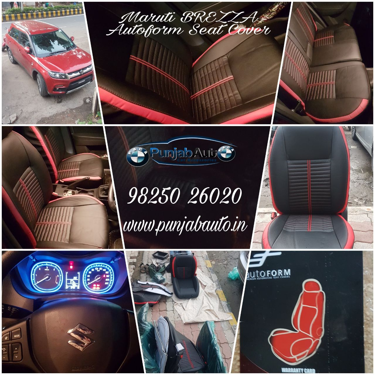 Recently we have fitted Autoform Seat Covers in Vitara Brezza and that too with Full Bucket Fitting. Red + Black goes with the interior of this Car and Add on was that the Brezza itself was in Red Colour. If you are looking for Style & Comfort and Durability too then,  you must go for these branded Seat Covers. It also has 2 Years Warranty for Material and Stitching as well.