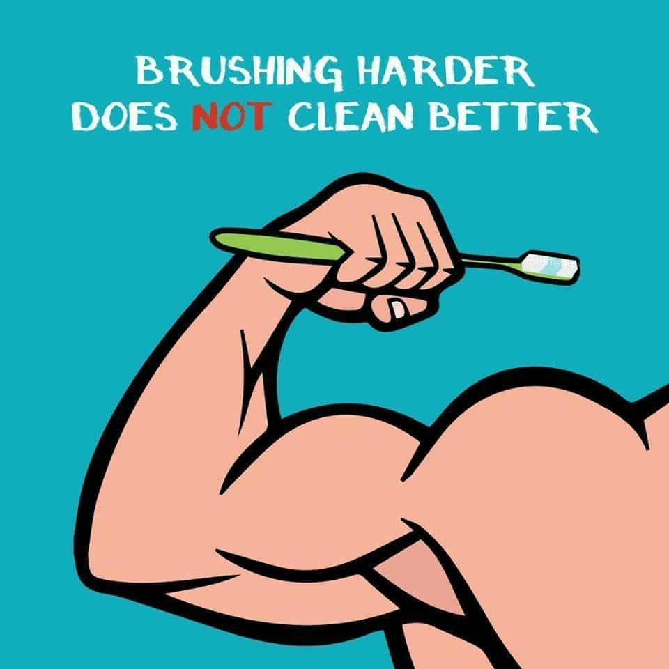 Hard Brushing erodes the Protective enamel layer on your teeth and makes teeth sensitive to hot & cold!  Now that's not something you want!  Braces Treatment in Gurgaon  Orthodontic treatment in Gurgaon  Root Canal Treatment in Sector 40  Gums treatment in Sector 40  Periodontal treatment in Gurgaon