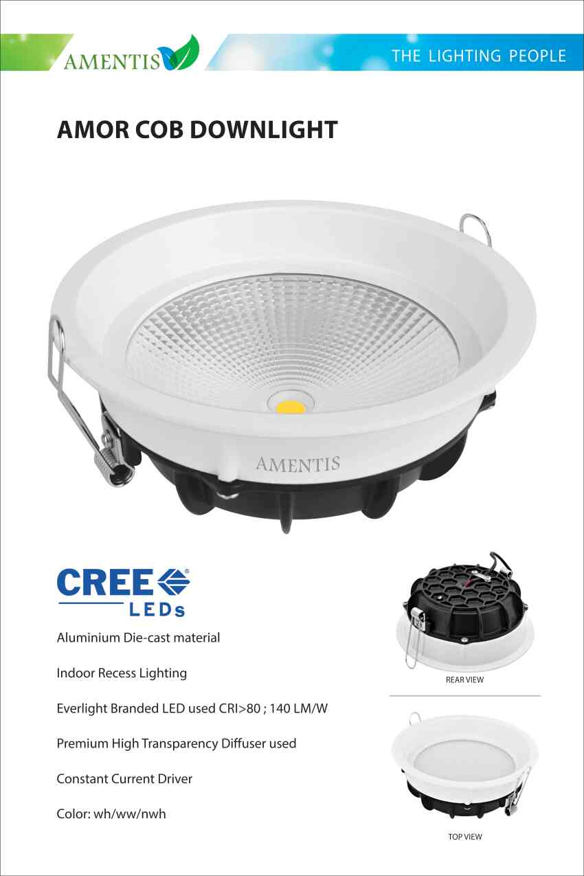 Professional Led COB SPOT Light Manufacturer Available  in 2 variant  1. 18 Watts 2. 28 Watts with below features Aluminium die-cast material. Indoor recess lighting. Premium high grade aluminium reflector. Branded CREE COB LED used CRI>80 LM>140/ WATT. Beam angle 80 degree. Premium high transparency diffuser used. Fixtures with constant current driver  High efficiency driver used eff >88%   For further details visit www.amentislight.com Contact  Vishal Jain 9028606304  Led light manufacturer in Mumbai
