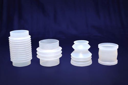 Silicone Rubber Bellows  We offer a wide range of Silicone Rubber Bellows. These are made up of high grade Silicone rubber and thus provide a compact protection for shafts and movable joints. These optimize the wearing parts life by preventing penetration of dust particles.   These bellows are widely in demand because it has excellent tensile strength and has the ability to withstand high temperature.  These bellows are available with FDA & USP class certifications for pharma / Food / Medical applications.   Specifications:  Hardness: 25 to 95 shore A, tolerance is ±5 shore A Temperature: High and low temperature-resistant Material: Silicone, Viton, EPDM, other rubber Colors: White, black, transparent, green, red, yellow, brown, blue, grey, purple, pink and more   Keywords:- food grade silicone bellows moulded silicone bellows silicone bellow silicone bellow suction cup silicone bellows silicone bellows hose silicone bellows manufacturers silicone bellows small silicone exhaust bellows silicone rubber bellow silicone rubber bellows in ahmedabad silicone vacuum bellows silicone weighing bellows silicone bellows manufacturers bellow manufacturers