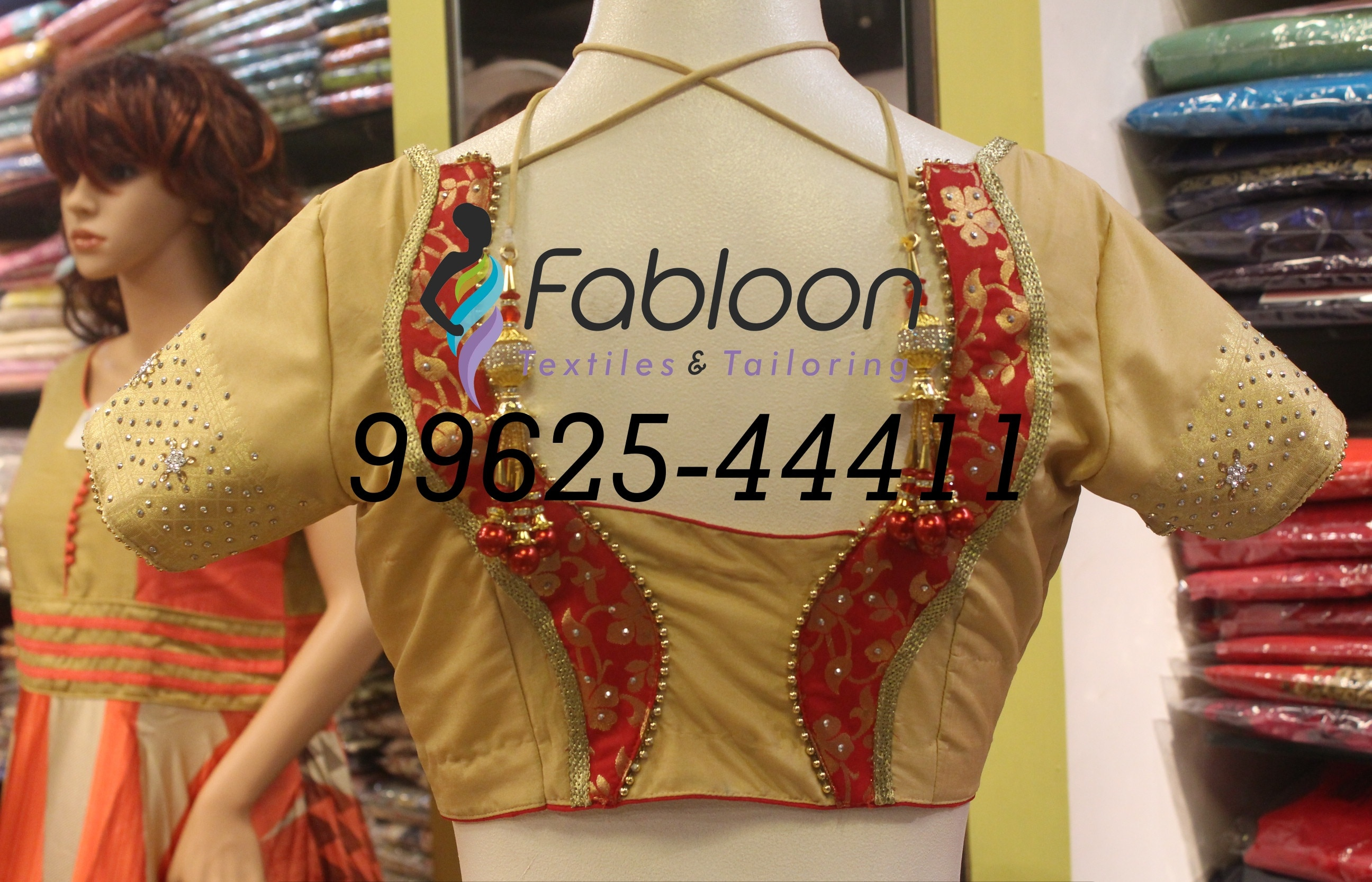Wedding Blouse Tailors In Chennai.   Aari Work On Wedding Designer Blouse Stitching At Fabloon Textile & Tailoring, Mob: +91 9962544411, 044 48644411.  Aari Work on blouse is one of the hottest trends this season.   The amount of richness a Aari embellishment elements on a fabric cannot be compared with anything else.  This delicate embellishment can be experimented in so many different designs creating traditional and contemporary looks.  Blouses embellished with Aari Work look best when they are worn at night and can be matched up with both Designer Sarees and Kanjeevaram Silk Sarees.  Traditional styles can be created with this kind of Aari Work and what's best is that it is suitable for all ages.