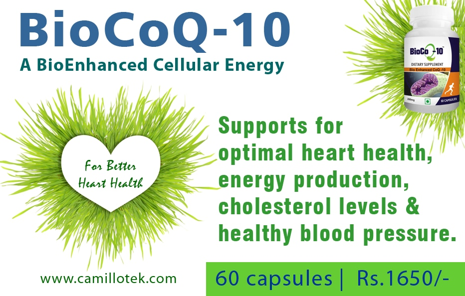 Bio CoQ-10 capsules supports for optimal heart health, energy production, cholesterol levels and healthy blood pressure.  Natural Coq-10 capsules, Bioactive Coenzyme Q10 tablets, Coq10 nutritional supplement, Natural heart healthy capsules, Coq10 capsules online, Best heart supplement, coenzyme Q supplement, CoQ capsules, ubidecarenone tablets, Q10 pills and coq-10 ubiquinone.   Coenzyme Q10 capsules manufacturers, Coenzyme Q10 capsules suppliers, Coenzyme Q10 capsules exporters wholesalers, traders in Chennai, India.