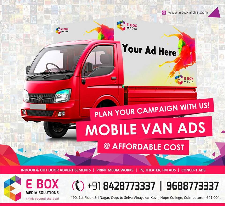 Mobile Van advertising @ Low cost E Box Media Solutions 9688773337
