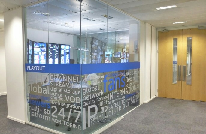 #Glass Branding in Corporate office with Transparent Vinyl. Oneway Vision / Opaque White Vinyl with custom design.  2D & #3DLogoMaker with Corporate identity design, Office Stationery & much more in Graphic designing, Quality Printing in Urgent  D9zone.com Design | Branding | Print +91 738 33333 99