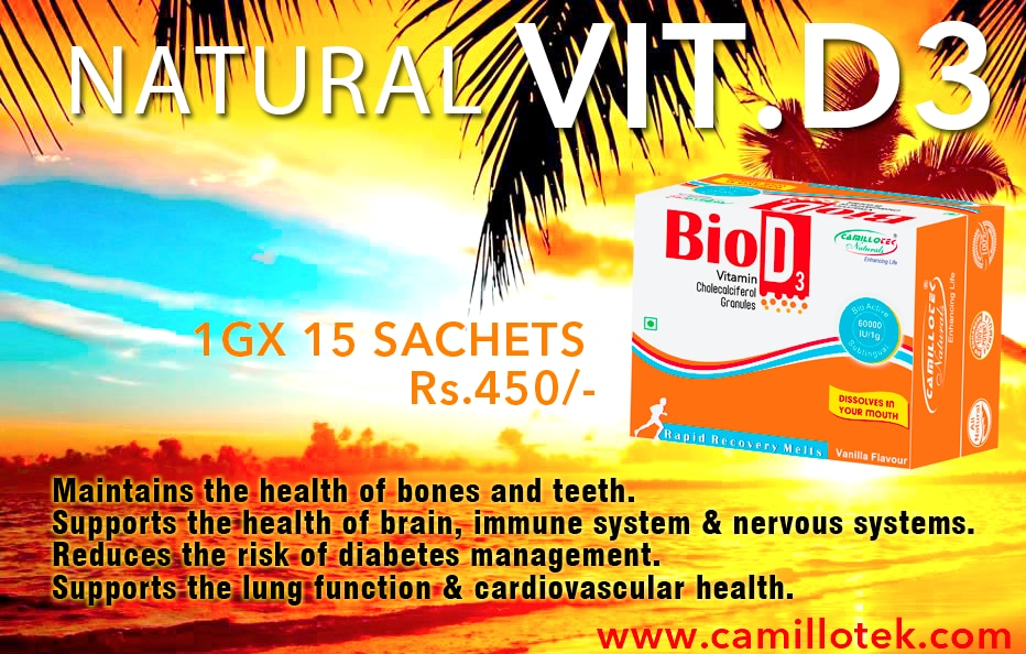 Health Benefits of natural Vitamin D : Maintains the health of bones and teeth. Supports the health of the brain, immune system and nervous systems. Regulates the insulin levels and reduce the risk of type 2 diabetes management. Supports the lung function and cardiovascular health.  Best Vitamin D supplements, buy vitamin D online, Vitamin D (cholecalciferol), Vitamin D for osteoporosis, sunshine vitamin, vitamin D dosage, Vitamins & Supplements, Vitamin D In India.  Vitamin D3 supplement manufacturers, Vitamin D3 supplement suppliers, Vitamin D3 supplement exporters wholesalers, traders in Chennai, India.