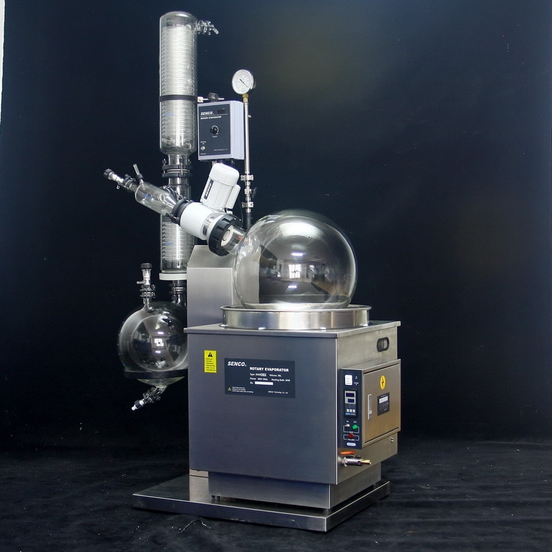 rotavapor Rotary Evaporator suppliers and manufacturers   These Rotary Evaporators are used for a variety of applications including: •	Concentration •	Drying •	Refining •	Separation •	Crystallization   Vacuum Sealing system Specially designed and precisely manufactured Anti-corrosion and Wearable Sealing Systems in these Rotary Evaporators enables to reach ultimate vacuum rates of less than 1 Torr. High quality material leads to longer seal life and hence about 90% of the users did not replace the seal in one year.   Tandem Type Continuous Receiving  With SENCO's patented unique Tandem Receiving Technology (patent No. 03229693.2), system vacuum does not drop during discharging shifts. With single receiving flask vacuum leakage points are reduced by 50%. Ultimate system vacuum is further improved by Glass-Mirror finish on all Flange joints.   PTFE Charging Valve To offer pure, clean charging process and durable use experience, new structure and PTFE material is used in the charging valve.   Flange Quick Press Ring One-piece quick clip design eliminates dead seizures in glass joints. Offer new experience on easy, reliable and high sealing connection for flanges (no tools required).