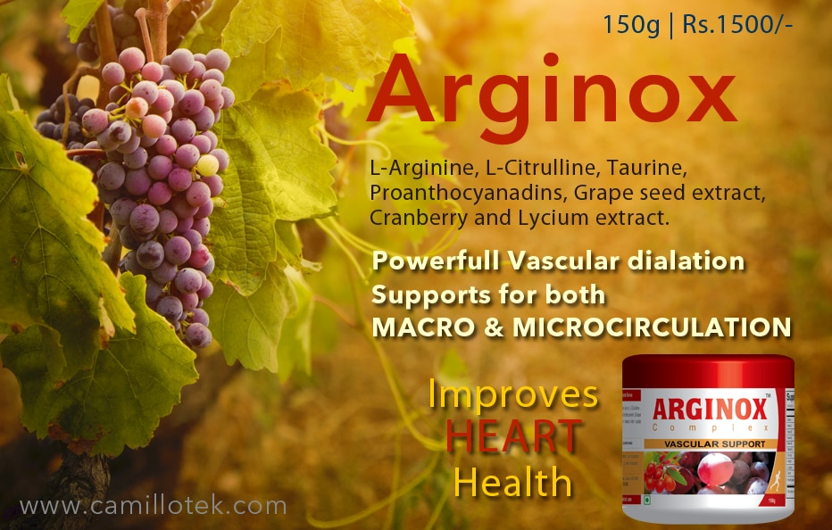 L-Arginine/l-Citrulline & Taurine Complex is a powerful combination which supports metabolism, protein synthesis, liver detoxification and energy . The l-arginine in the product supports nitric oxide (NO) production, which is beneficial to the heart and blood vessels.  Grape seed extract supplement, L- Arginine complex plus antioxidants, L-Citrulline supplement powder, Taurine supplement powder, Lycium extract supplement, L-Arginine Powder online, Heart support supplement, cardio health powder and cardiovascular support.  Grape seed supplement manufacturers, Grape seed supplement suppliers, Grape seed supplement exporters wholesalers, traders in Chennai, India.