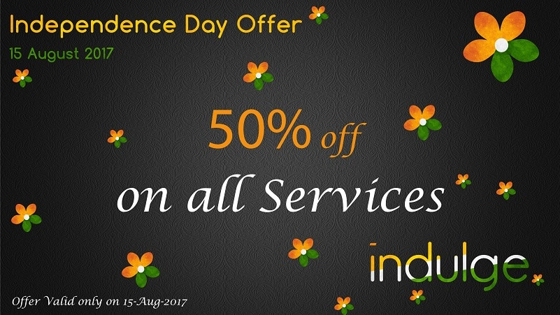 Independence Day Salon Offer: Get flat 50% off discount on all services only today.