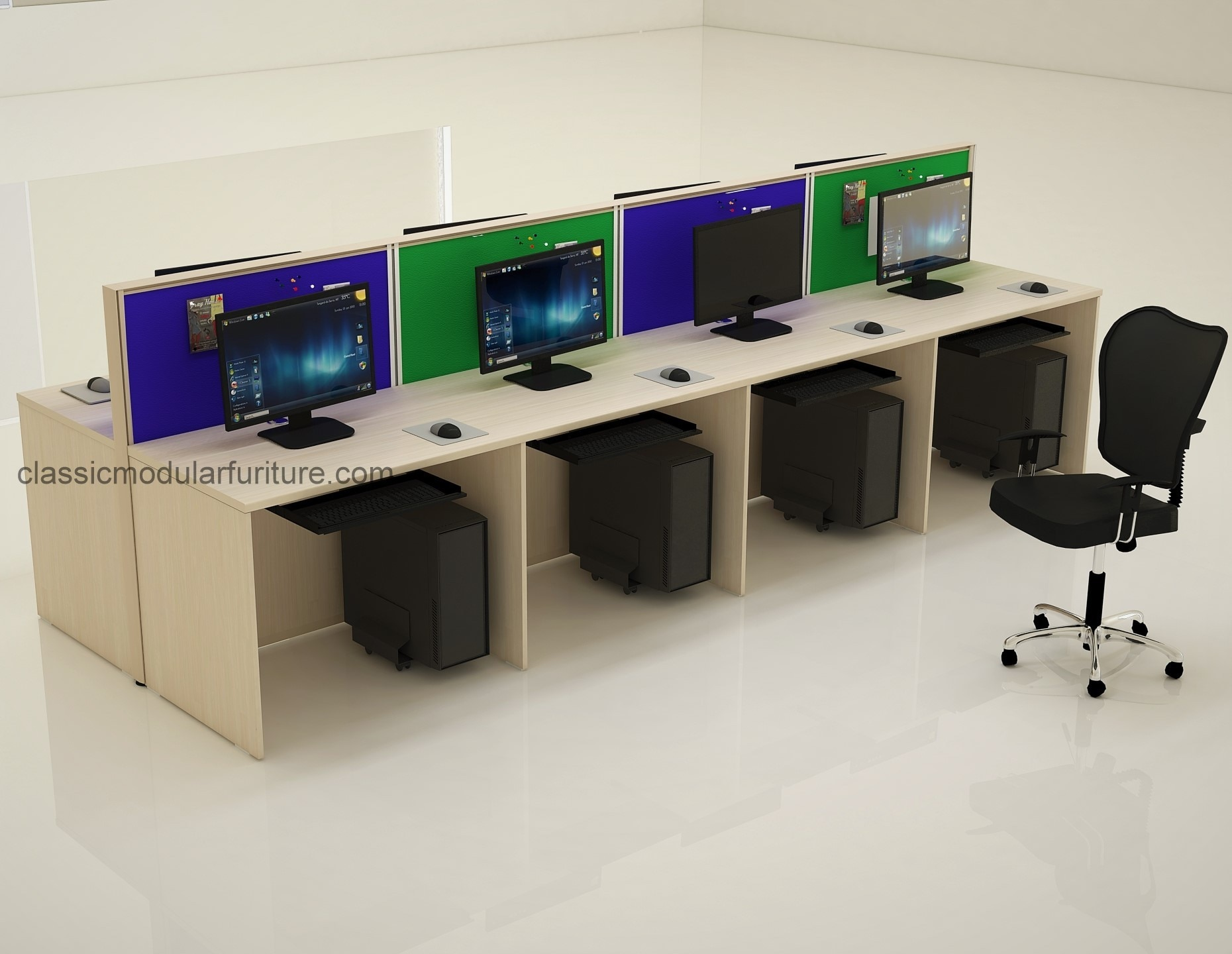 Tile based modular workstation consisting of 60mm aluminum profile partitions with softboard with high quality prelaminated particle board desk top and sides suitable for offices and call centres.