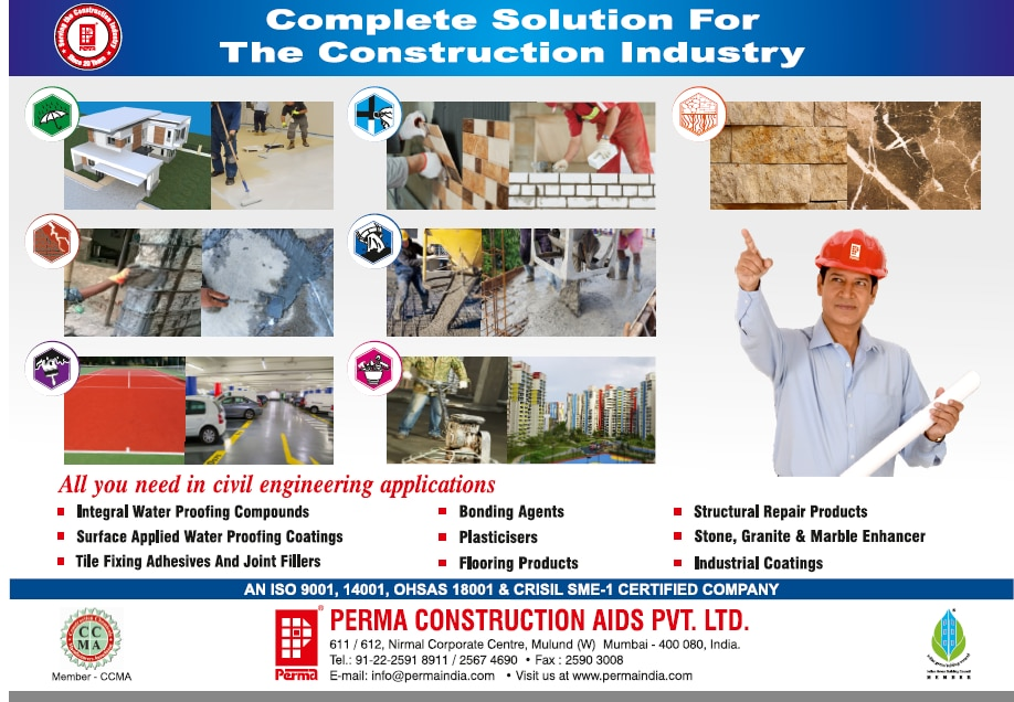 "Construction Chemicals Manufacturer  PERMA CONSTRUCTION AIDS PVT. LTD. is an ISO 9001, 14001, OHSAS 18001 certified Company, for Design, Manufacture and supply of Construction Chemical products in India & abroad under the brand name of ""PERMA"". The Company also has a rating of SME – 1 awarded by CRISIL which describes the financial strength of the company. The company's range of products consists of Integral waterproofing compound, range of Water proof coating in cementitious, Acrylic and in SBR latex, Tile fixing adhesives, Tile Joint Filler in cementitious and epoxies, Range of repair and rehabilitation products for distressed concrete structures, Admixtures for concrete, Epoxy coatings & toppings, Floor hardeners, Grouts for machine foundation, Micro Concrete, Polypropylene Fiber Reinforced Concrete, Plaster putties in coloured & white ,  Flexible coloured waterproof coatings, Hydrophilic water stop strip, Reinforcement Fibreglass Mesh, Waterproofing tape for construction, Stone & Marble enhancer."