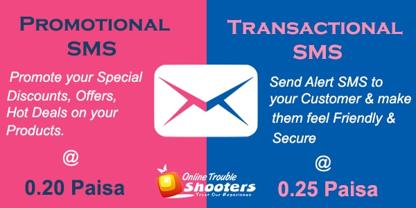 Bulk SMS Service is Best for promotion on reaching your Customer. Bulk SMS is of two type : Promotional SMS - For promoting your Special Offers Transactional SMS - For sending alert messages & maintaining a healthy relationship with your Customers.  For more visit https://www.onlinetroubleshooters.com/sms-service/  Get FREE 100 SMS for Trial. Just take a Trial!