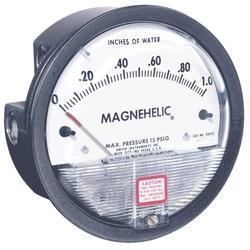 "Select the ""Magnehelic Gage"" for high accuracy--guaranteed within 2% of full scale--and for the wide choice of 81 models available to suit your needs precisely. Using Dwyer's simple, frictionless Magnehelic® gage movement, it quickly indicates low air or non-corrosive gas pressures--either positive, negative (vacuum) or differential. The design resists shock, vibration and over-pressures. No manometer fluid to evaporate, freeze or cause toxic or leveling problems. It's inexpensive, too."