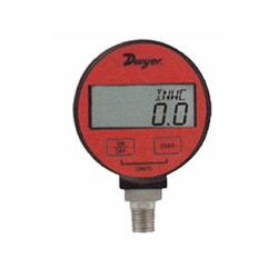 """Dwyer Digital Pressure Gage"" with 0.25%, 0.5% and 1% accuracy for service of compatible liquids and combustible gases. It is battery powered and has an auto-shut off to conserve battery life.  Battery life on average will last 2000 hours"