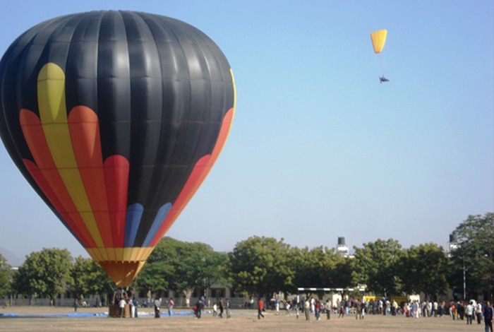 Eyes in the Skies: Hot Air Balloons in Delhi NCR  National Adventure Foundation  An NGO, this establishment was founded with the intent to promote adventure sports amongst the youth of India, with special emphasis on the underprivileged class. Besides hot air balloon rides, they also provide other adventure sports like parasailing, paragliding, bungee jumping, etc.  Contact: +919166562244