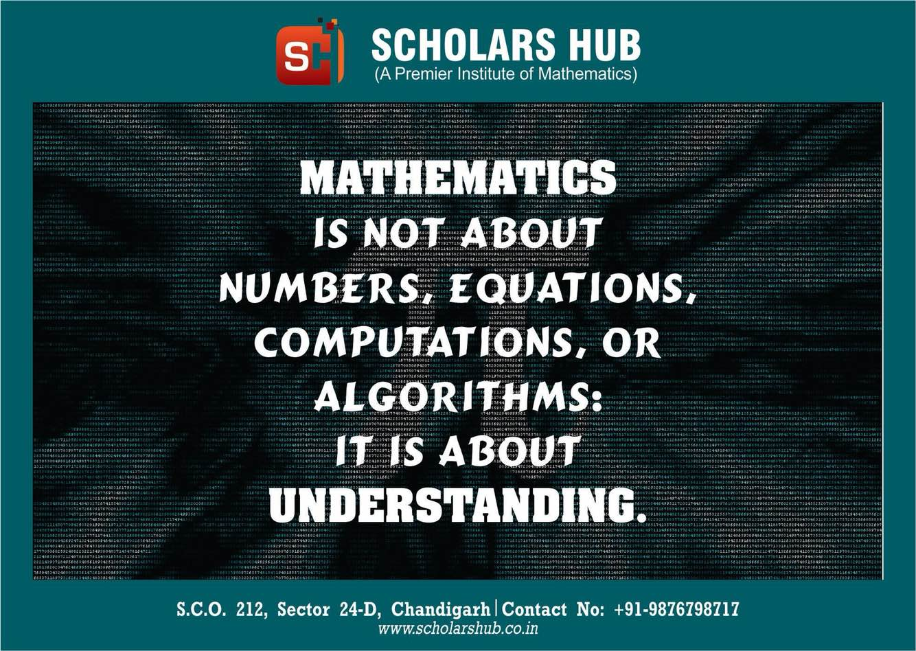Scholars Hub is the best Maths institute in Chandigarh for Classes 10th 11th 12th BA Bsc Btech. Bsc 1st 3rd 5th Semester Maths Coaching institute. BCA Maths Coaching Bcom Maths Tuition in Chandigarh. Btech Maths M1 M2 M3 M4 classes Msc Maths Coaching Institute in Chandigarh