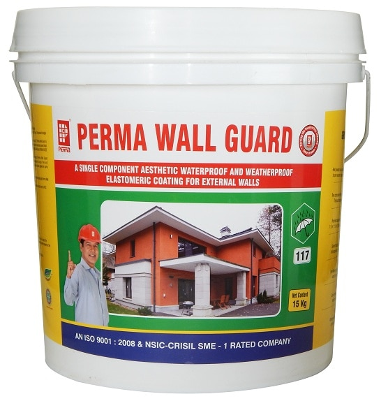 Weatherproof Elastomeric Coating Manufacturers   We are the leading Manufacturers , Suppliers & Expoter of a wide range of Weatherproof Elastomeric Coating to our clients. We offer these in various specifications and can be properly customized as per the specifications provided by the clients.   A Single Component Aesthetic Waterproof And Weatherproof Elastomeric Coating For External Walls  DESCRIPTION Perma Wall Guard is an environment friendly acrylic protective coating for external walls which protects walls from algae, fungus, polluting atmosphere and makes them waterproof. The product is available in limited shades which are totally alkali stable and resistant to UV and IR rays. The product is highly elastomeric and allows the concrete surface to breathe normally.  PRIMARY USES  Perma Wall Guard is used to provide a waterproof & weatherproof coating for the external RCC wall as well as masonry walls. Perma Wall Guard is applied to external surfaces to make them resistant to algae, fungus, carbonation, UV and IR rays from the Sun. Perma Wall Guard is used to make the external colored finish long lasting. For waterproofing of terraces and sloping roofs please refer to literatures of our specialized products for this purpose, i.e. PERMA GUARD and PERMA EAZEE COAT. ADVANTAGES  Perma Wall Guard is water based, hence easy to apply with brush, roller or airless spray and is non-toxic and environment friendly. Perma Wall Guard can be built up to thicknesses and with proper rollers architectural texture finishes can be achieved. Perma Wall Guard makes the surfaces algae and fungus free and protects the RCC walls from carbonation attacks. Perma Wall Guard is ideal for both RCC walls as well as masonry walls. Perma Wall Guard can be applied on damp surfaces. Perma Wall Guard is alkali stable and resistant to UV and IR rays from the sun.