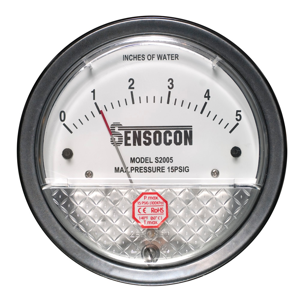 "The Series S2000 ""Sensocon Differential Pressure Gage"" are low cost, diaphragm operated,  mechanical differential pressure gauges that may be used in all applications where the Dwyer® Magnehelic® brand gages may be used. The Sensocon® Series S2000 differential pressure gauge can be used in applications for measuring positive, negative, or differential pressure with an accuracy of 2%. Standard applications include monitoring filter status, duct static pressure, room pressure, fan or blower pressure, paint booths, dust collectors, and cabinet purging along with many others"