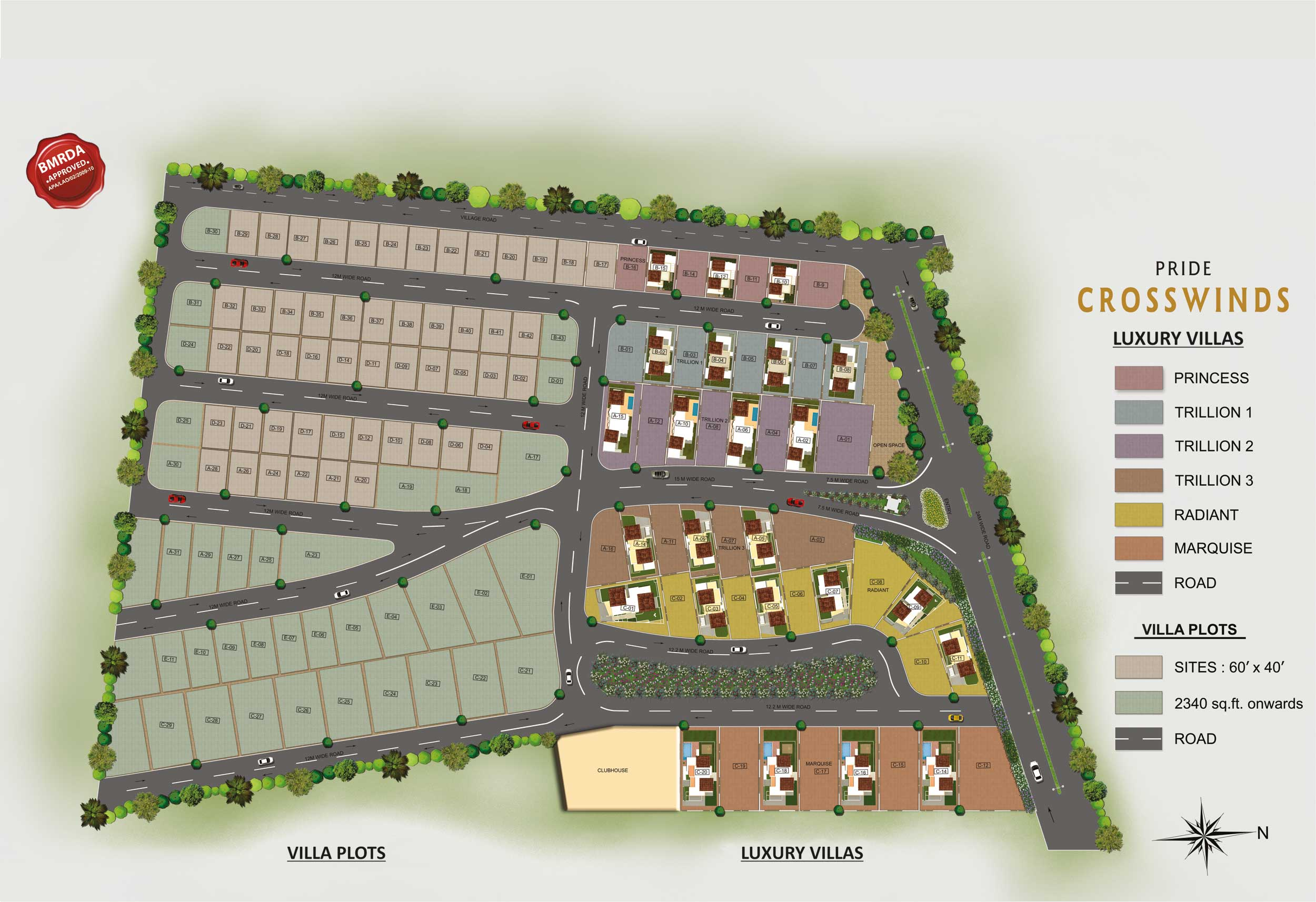 BMRDA Approved villa Plots for sale near Jigani Ultra Primium Villa Plots with Aesthetically designed street light posts, Box-type/saucer-type storm water drain, All-round designer compound wall with security room, Fully developed landscaped garden, Avenue tree plantation/shrubs, Lavish club house... www.pridegroup.net/pride-crosswinds-plots