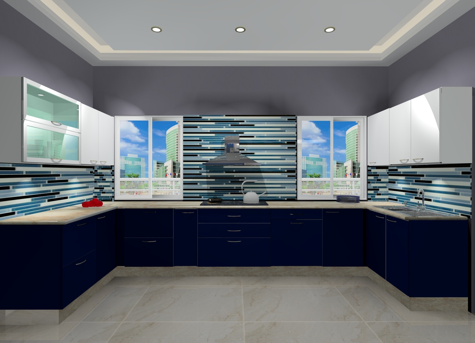 Modular Kitchen in Gloss laminate  Designed by BLK LifeStyle Delhi