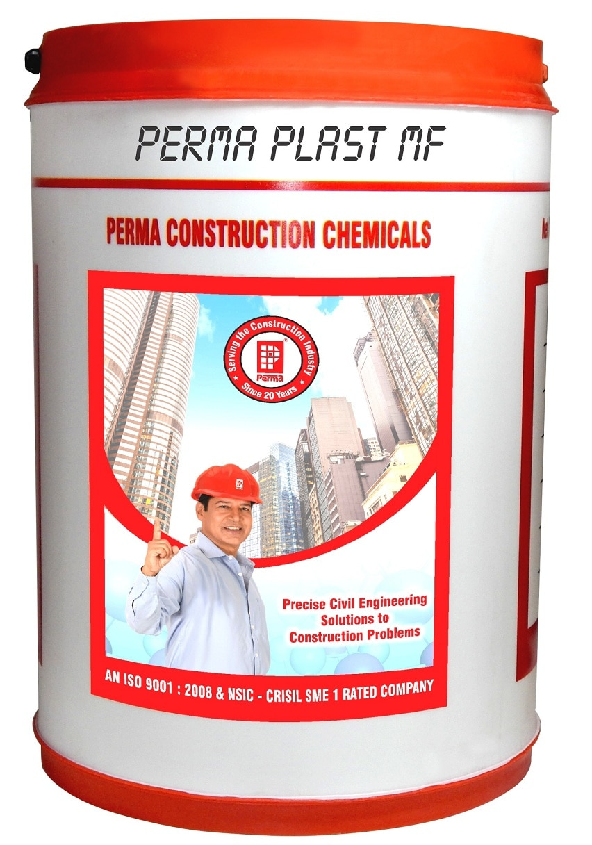 Water Reducing Agent  Perma Plast MF is Superior Quality Melamine Based Super Plasticiser Cum Water Reducing Agent.  Perma Plast-MF is a superior quality super plasticiser cum water reducer based on high molecular weight sulphonated melamine formaldehyde condensate.   PRIMARY USES  To increase the workability in concrete used In casting pre-cast units, cement tiles, colored paving blocks and for use in white cement mixes used for decorative render etc. To increase the compressive strengths. To bring about cement economies. For hot weather concreting. For Early de-shuttering of form work .  ADVANTAGES  Perma Plast-MF is a clear to light straw colored liquid hence does not change the colour of concrete. Perma Plast-MF is highly useful in pre-cast units and in tile factories. Perma Plast-MF is of special advantage in Tyrolean renders and in white cement based textured coatings. Perma Plast- MF is very easy to dose. The dosing quantity of the material can be added to the concrete or mortar mix at any stage of mixing.