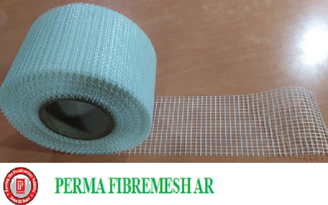 Fiberglass Mesh  Perma Fibremesh AR is Alkali Resistant Glass Reinforcing Fabric For Use In Construction And Fiberglass Mesh for Waterproofing.   During the course of screed laying or plastering unroll the Perma Fibremesh AR and lay it on the leveled wet surface. Where the Fibremesh AR has to be joined make a loosely laid lap joint of 200 mm, and lay the nal layer of screed/plaster or the liquid membrane and oat/trowel to the desired nish. In all such application it is desired that the reinforcing membrane is kept lose to the surface.  ADVANTAGES  Perma Fibremesh AR is economical and it does not add too much to the overall cost in a project. It is easy to use. It only needs spreading over one layer of plaster/screed or membrane before application of the nal layer. Perma Fibremeh AR is alkali stable hence it does not get degraded or weakened in the alkaline media of Ordinary Portland Cement. Perma Fibremeh AR acts as a reinforcing media in the creation of architectural features in building facades. Ideal Engineering product for the construction industry. Perma Fibremesh AR can be used to reinforce two different types of materials in i.e. concrete, brick work etc. Articial Rock Building, Marble back mounting, Repairs and structural Retrotting. Perma Fibremesh AR is a suitable building material which is suitable for all kinds of architectural styles and shapes. It is an ideal engineering material in construction and can be easily used to reinforce cement rendering , stone, wall material, roong between gypsum etc. Can be used for internal and external plaster reinforcement.