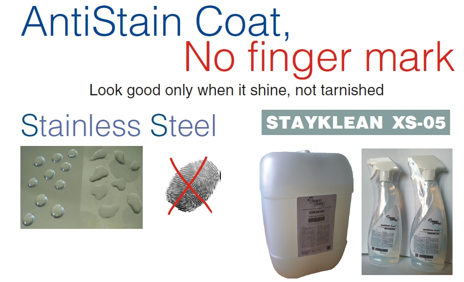 ANTI STAIN COAT, NO FINGER MARK Jala Sales, Pune offers Valgro STAYKLEAN XS -05 is translucent water based single component and multipurpose coating liquid to give crystal clear non -yellowing coating over most surfaces to protect the surface from getting stain.  The uniquely blended STAYKLEAN XS -05 prevents tarnish, water stains for both oxide/tarnish and scale/deposit as well as finger print over metals surface too.The physical properties and chemical resistance of the crystal clear thin film form strong bonds integrated with the surfaces, providing long-term protection. The non -yellowing film formed will suit the outdoor surfaces too.  APPLICATION : STAYKLEAN XS -05 is ready to use. It is spray -able, paintable over contour surface or wipe -able over flat surface properly cleaned, degreased, dried without dust, grease, oil and tarnish -free neutralized surfaces. Coating layer is readily dried to touch at room temperature within 15 minutes. Hot air blower or drying in oven at 50°C for few minutes can be applied for faster drying, but matured coat properties achievable after leaving to cure further at room temperature for 48hrs.  Jala Sales – deburring and polishing solutions, suppliers of  ANTI STAIN COAT, NO FINGER MARK  in Pune.