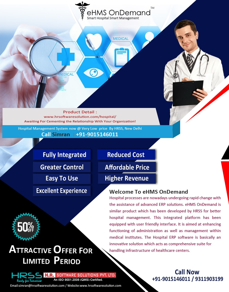 Quick and easy patient registration, instantaneous profit and loss statement for your Hospital Management, log in any time anywhere, unique patient identification;HR.Software solutions Pvt Ltd provides you the best Hospital Management System offers futuristic solutions for you. It is a Software with highest quality, user friendly , usability with lowest maintenance & cost. To know more contact 9015146011