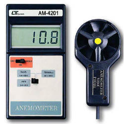 """""""Lutron Digital Vane Anemometer"""" measures Air velocity upto 30 m/s. The Protable Anemometer provides fast, accurate readings, with digital readability and the convenience of a remote sensor separately. Multi-functions for air flow measurement. A sesntive balanced vane wheel rotates freely in response to air flow. Built-in low battery indicator. DATA HOLD function for storing the desired value on display Applications: Anemometer is used to check Air conditioning & heating systems, measures air velocities, wind speeds, temperature."""