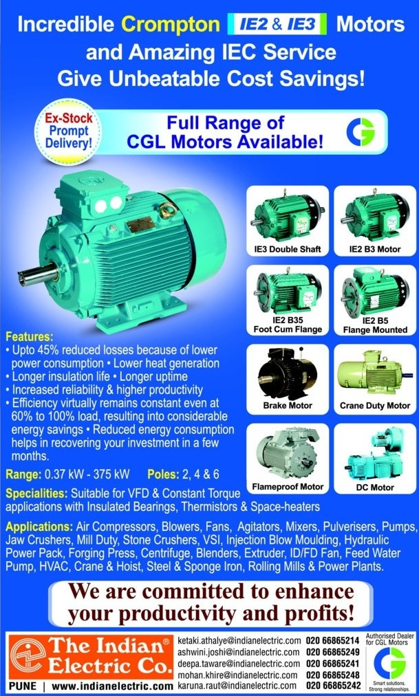 GOOD NEWS !     GOOD NEWS !     GOOD NEWS !                                   NOW THE INDIAN ELECTRIC CO. IS THE AUTHORISED DEALERS  FOR CROMPTON MAKE ELECTRIC MOTORS ! ALL MOTORS IN STOCK. HURRY UP ! GRAB YOUR PRODUCT TODAY.