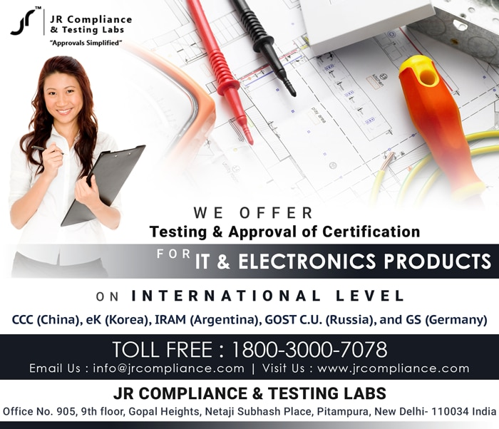 We Offer #Testing & Approval of #Certification For #IT & #Electronics Products on Internationally Level CCC (China), eK (Korea), IRAM (Argentina), GOST C.U. (Russia), and GS (Germany)   #Pitampura #Newdelhi #China, #UnitedKingdom, #England, #Indonesia #Jakarta #India, #Japan #Tokyo, #Taiwan, #Tanzania , #Usa JR Compliance and Testing Labs  For More Details :-   Toll Free: 1800-3000-7078 Email: info@jrcompliance.com Website : http://www.jrcompliance.com/
