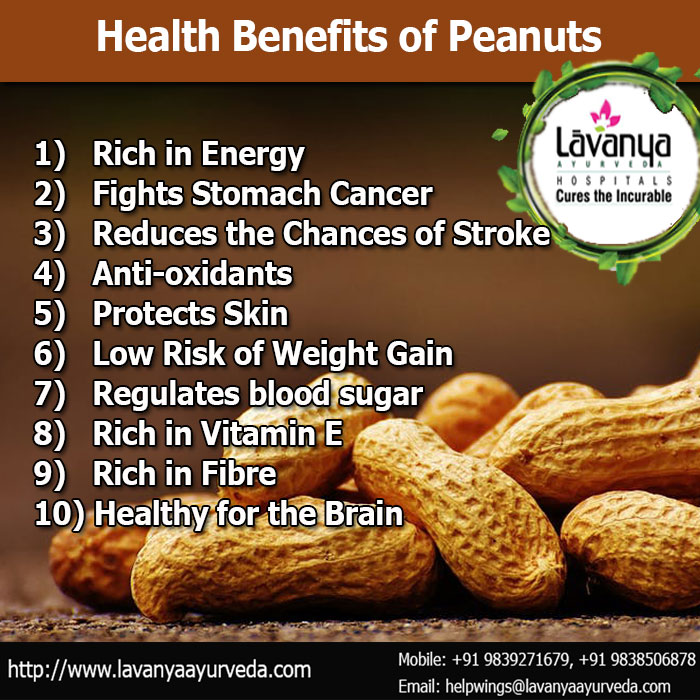 Health benefits of Peanuts आयुर्वेद अपनाएं स्वस्थ रहें! For more information, please visit: http://www.lavanyaayurveda.com/ #ayurveda #health #ayurvedic #ayurvedatreatment #ayurvedictreatment #ayurvedicmedicine #ayurvedaexpert #ayurvedalife #AyurvedaHealth #wellness #Panchkarma #Department #Naturopathy #Healthcare #Ayurveda #eathealthy