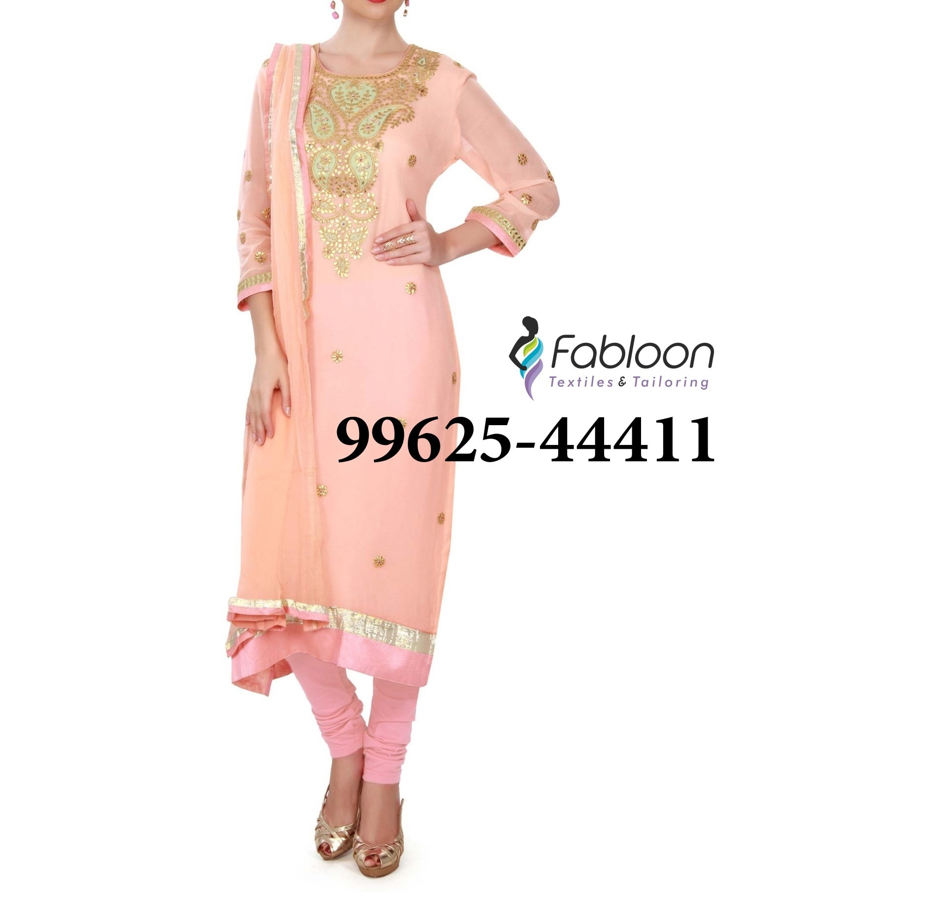 Baby Pink Colour Elbow Length Sleeve Round Neckline Designer Salwar Kamees At Fabloon Fashion Boutique And Designer Tailoring In Vadapalani, Mob: +91 9962544411, 044 48644411.  Wedding Blouse Designs In Vadapalani. Designer Blouse At Kodamabakkam. Blouse Stitching Around North Usman Road. Aari Work Blouse Neck Design Near Trustpuram. Check all updates for more Collections.