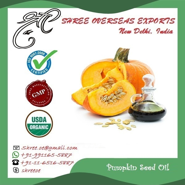 100% Pure Cold Pressed Pumpkin Seed Oil NO MOQ-Take as much you need Pumpkin Seed Oil is rich in vitamins A, B1, B2, B6, C, D, E and K Pumpkin Seed Oil is also rich minerals, like magnesium and calcium Pumpkin Seed Oil is rich in fatty acids which are good in joints The regular use of pumpkin seed oil prevents the occurrence of benign prostatic hyperplasia. It is also aids in the treatment of the same Pumpkin Seed Oil regulates blood cholesterol, thereby reducing the risk of heart ailments  Why us?  100% Pure and Organic Oils  Desired Quantity Offered  Reasonable Prices  Bulk And Ready Stocks   Shree Overseas Exports is USDA Certified Organic Supplier  We also offer private labelled bottles for buyers, with their company name / logo printed as per buyer's instructions