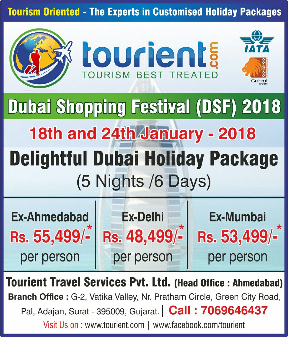 Get ready to explore Dubai on Dubai Shopping Festival in January 2018. Tourient is delighted to offer special Dubai Holiday Package with the best rates.   Book your Dubai Tour Package now before seats get sold out!