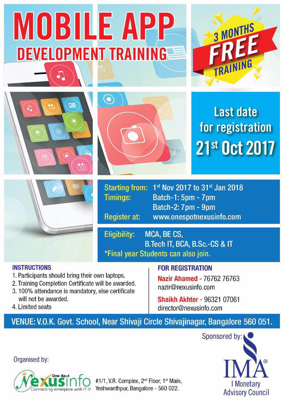 #Free #MOBILE #APP #DEVELOPMENT #TRAINING The last and final call for registration...come one and all...hurry up...utilise the opportunity...register immediately at www.onespotnexusinfo.com as last date is 21, Oct 2017.