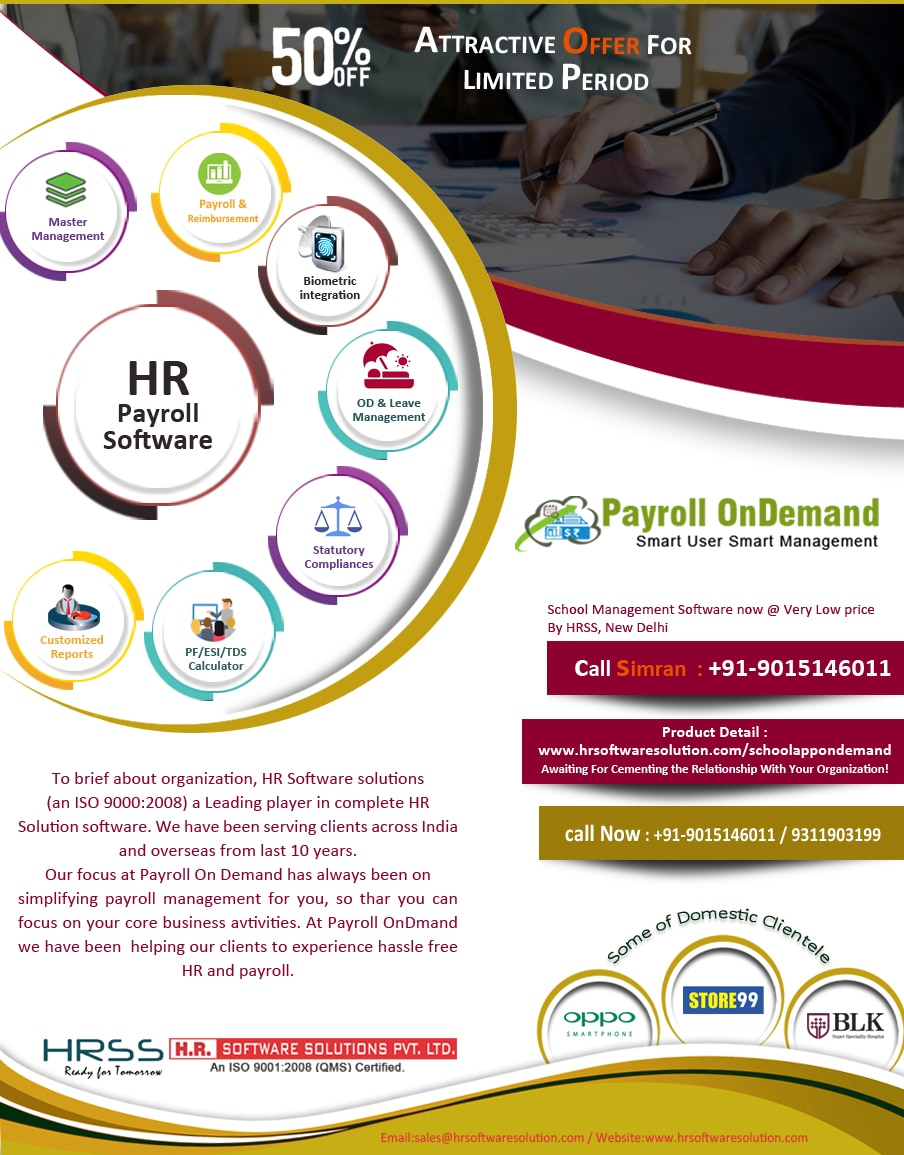 Our Payroll management Software is a complex process due to a large number of calculations and statutory compliance requirements. We have user friendly software developed by HR software Solutions Pvt.Ltd which also provides you the India's best payroll solution . It's unmatched in it's simplicity and tackles all aspects of the payroll process.  Get salaries out in just minutes instead of days! Contact 9015146011 for free trial.