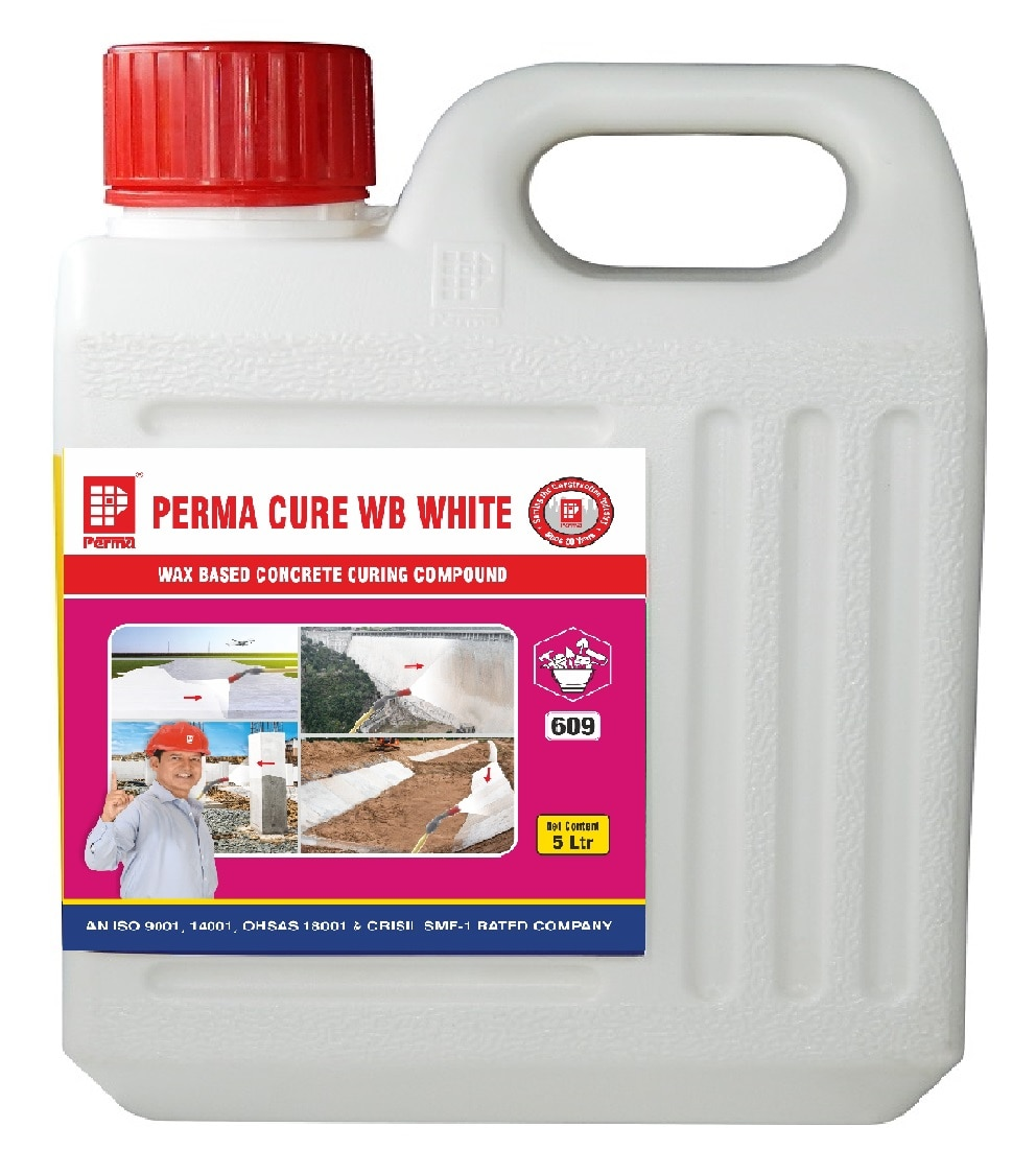 WAX BASED CONCRETE CURING COMPOUND We manufacture Concrete Curing Compound in India which is good qality and export worthy. Perma Cure WB White is Extremely cost effective. DESCRIPTION Perma Cure WB White is a White pigmented wax based emulsion for retaining water in concrete for effective hydration of cement. PRIMARY USES Perma Cure WB White provides a highly economical and efficient means of retaining the water in fresh concrete. The presence of water is essential to ensure the strength development in concrete. The membrane formed by Perma Cure WB White prevents concrete from premature drying out and therefore enables the process of hydration to proceed under optimum conditions. As a consequence, the finished concrete has a harder, dust free surface whilst drying shrinkage and crazing (hair cracks) are reduced to a minimum. ADVANTAGES Extremely cost effective Gives water repellent film Initial white colour shows areas treated. Waterproofing effect.