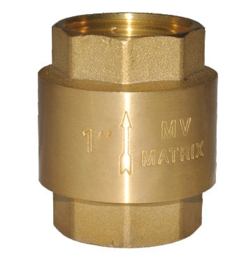 Brass Check Valves manufactured and supplied by Matrix Valves are the best in the industry. The horizontal brass check valve permits flow in one direction and shuts automatically if the flow reverses and flows only in horizontal direction whereas the vertical brass check has a spring inside and is used for vertical flow.