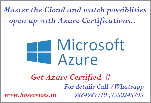 Azure Certification Institute in Chennai  Microsoft Azure is the cloud for modern business.  Cloud platforms from Microsoft, Amazon and Google are evolving, and the rapid growth of the industry has had a parallel effect on the IT market and IT professionals.  Keeping pace with current technology is possible and will ensure that you have the skills you need to master the Microsoft Azure platform.   The new certification paths are  modular and link with core infrastructure skills in Windows Server.  To become an MSCA, you have to pass two examinations and demonstrate your capabilities as a cloud administrator and your pathway to becoming a cloud architect. The options are: * Developing Microsoft Azure Solutions [Exam 70-532] * Implementing Microsoft Azure Infrastructure Solutions [Exam 70-533] * Architecting Microsoft Azure Solutions [Exam 70-534] * Designing and Implementing Cloud Data Platform Solutions [Exam 70-441] * Designing and Implementing Big Data Analytics Solutions [Exam 70-475]  Implementing Microsoft Azure Infrastructure Solutions [Exam 70-533] is where we recommend starting, as it covers the fundamental skills.   HB Services provide discount vouchers all Microsoft Certifications.  Please Call / whatsapp +91-9884987719 / +91-7550245795