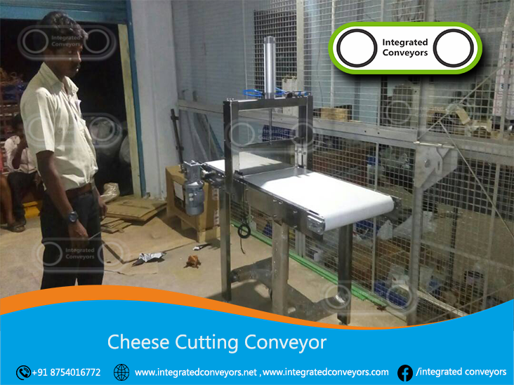 Cheese Cutting Machines Our range of cheese cutters have been developed over the last few years by listening to the needs of our customers.  We can offer a prepack cutter to produce both fixed and random weight portions from a 20Kg block without breaking the bank!  We have integrated state of the art pneumatic technology in the machine design and used simple engineering principles to produce an automatic cheese cutter that gives the operator accurate control over portion weights.  Integrated Conveyors have manufactured different syles of machine to cut catering size cheese blocks.