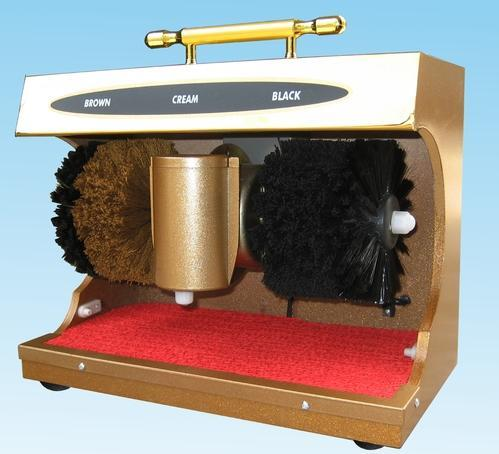 We are offering high quality Shoe Shining Machine. Specifications of Shoe Shining Machine: Voltage: 220v / 50Hz Rated Power: 40W Dimensions: 280 x 370 x 210 mm Material: Wooden Body Time Protection: 45 seconds auto cut off Polish Capacity: 200 ml