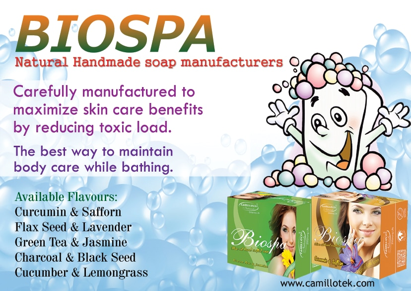 Biospa is carefully manufactured to maximize skin care benefits by reducing toxic load. Biospa soap is the best way to maintain body care while bathing. Natural handmade soaps online, natural soap Curcumin Safforn, natural soap Flax Seed Lavender, natural soap Green Tea Jasmine, natural soap Charcoal Black Seed and natural soap Cucumber Lemongrass.  Natural Handmade bath soap manufacturers, Natural Handmade bath soap suppliers, Natural Handmade bath soap exporters wholesalers, traders in Chennai, India.