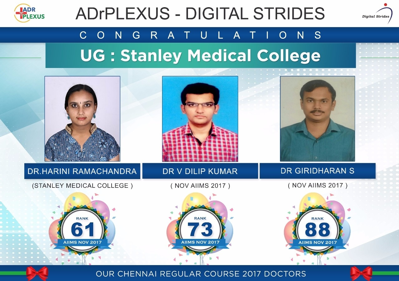 ADrPlexus Salutes November AIIMS 2017 Toppers Dr Harini ( Rank 61 ) , Dr Dilip Kumar ( Rank 73 ) and Dr Giridharan Rank 88 .