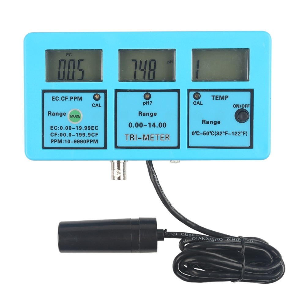 PH / EC / TDS / TEMP / MULTI COMBO METER Manufacturer in Coimbatore / Chennai / Banglore PH TEMP EC CF TDS MONITOR WATER METER TESTER SPECIFICATION:        	 	 RANGE:PH:0.00〜14.00PH 	 	              TEMPERATURE: 0℃~50℃	 	              EC:  0.00~19.99EC          	 	              CF:  0.0~199.9CF	 	              TDS: 10~9990PPM    	 	 RESOLUTION: PH: 0.01PH 	 	                      TEMPERATURE:0.1℃ 	 	                       EC: 0.01EC   	 	                      CF: 0.1CF           	 	                      TDS: 10PPM     	 	 ACCURACY:  PH  ±0.1PH            	 	                     TEMPERATURE  ±1.0℃    	 	                    EC、CF、TDS:±2%F.S               POWER SUPPLY:  DC  6V (POWER ADAPTER USABLE) TEMPERATURE COMPENSATION: 0℃〜50℃          WORKING TEMPERATURE: 0℃〜50℃               SIZE: 152MM×80MM×26MM             	 WEIGHT:265G               ORIGIN : GABY INSTRUMENTSDELIVERY : IMMEDIATE