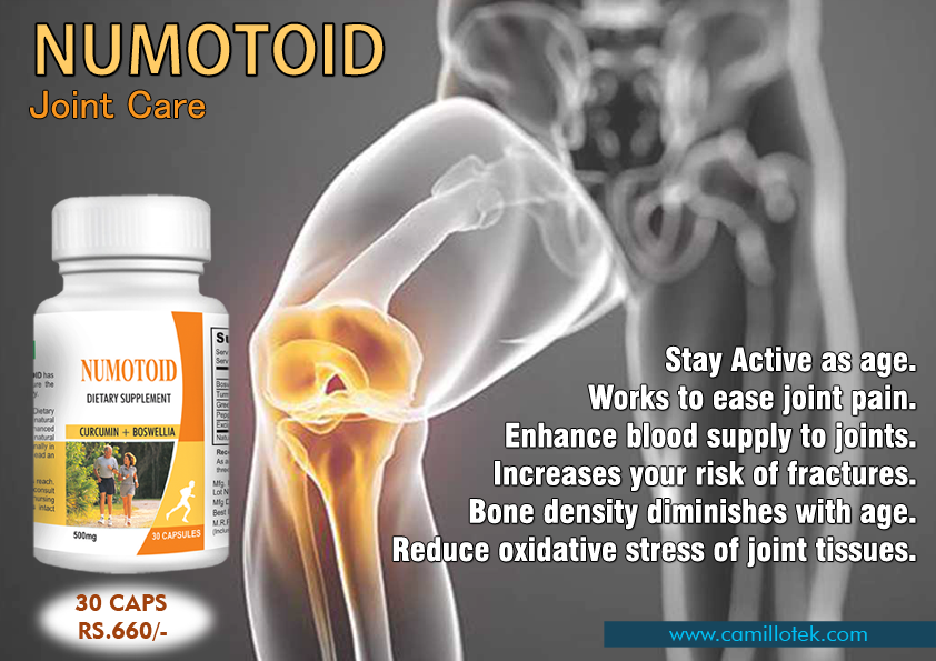Numotoid helps to stay active as age, works to ease joint pain, enhance blood supply to joints, iIncreases your risk of fractures, bone density diminishes with age and reduce oxidative stress of joint tissues.