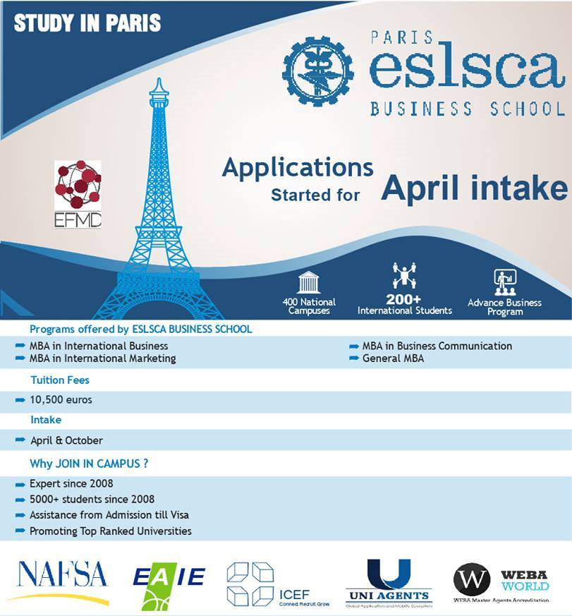 Study In France - Eslsca Business School  applications open for April 2018 Intake  courses available MBA (International Business, International Marketing, Business Communication)  Gyaan Overseas Education is the Best Overseas Education Consultants In Chennai .For more details leave your queries below   Overseas Education Consultants In Chennai  Study Abroad Consultants Campus France