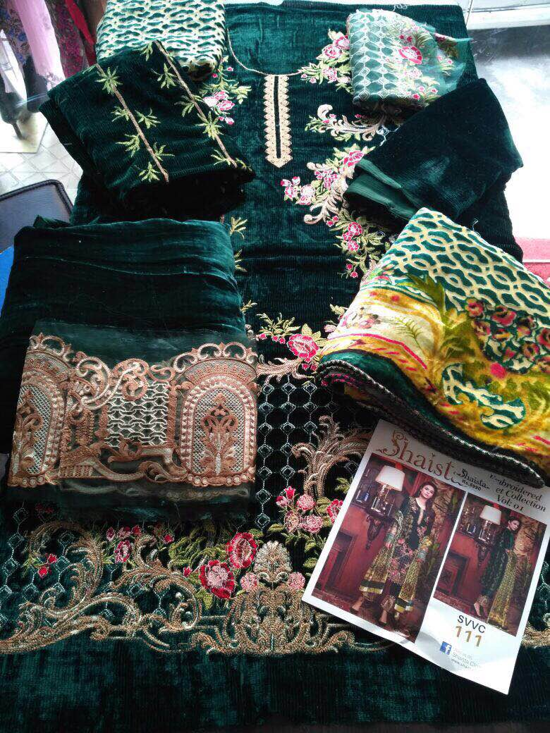 Booking Open👉                     For  Shaista Embroidered         Collection     (Delivery by next Monday)  Shaista embroidered  pure velvet collection 2017 Embroidered velvet suits with velvet pluchi dupattas  Price 5500/- +$  Limited stock